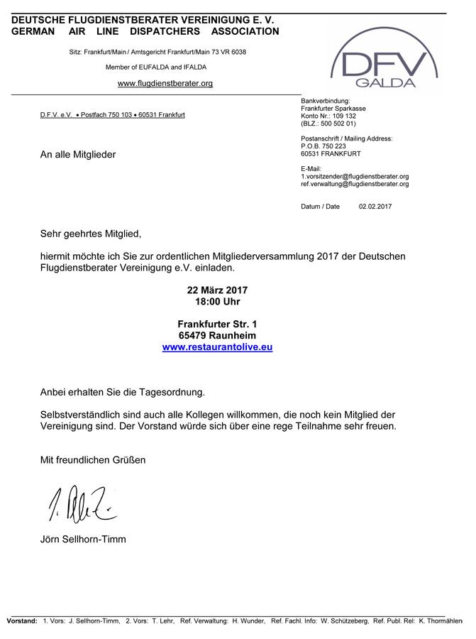 DFV Mitgliederversammlung 2017 – Einladung